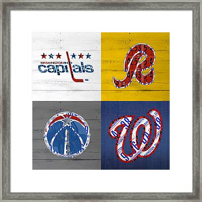 Washington Dc Sports Fan Recycled Vintage License Plate Art Capitals Redskins Wizards Nationals Framed Print by Design Turnpike