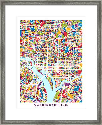 Washington Dc Street Map Framed Print by Michael Tompsett