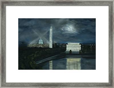 Washington Dc Under Moonlight Framed Print by Brandon Hebb