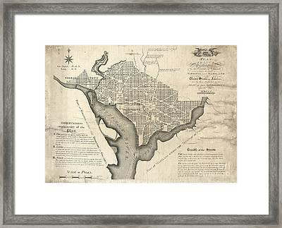 Washington Dc Vintage Map Framed Print by Baltzgar