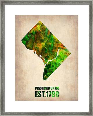 Washington Dc Watercolor Map Framed Print by Naxart Studio