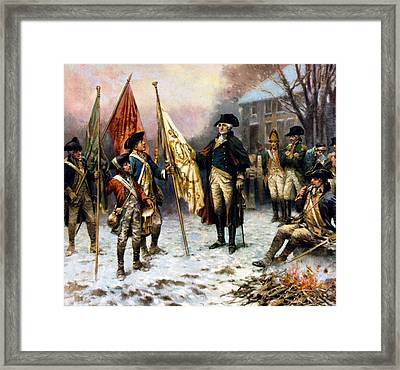 Washington Inspecting The Captured Colors Framed Print by Percy Moran