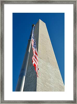 Washington Monument And American Flag Framed Print