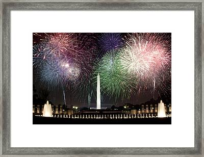 Washington Monument And Wwii Memorial Under Fireworks  Framed Print