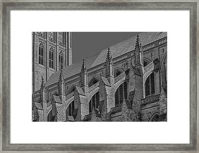 Washington National Cathedral  Bw Framed Print by Susan Candelario