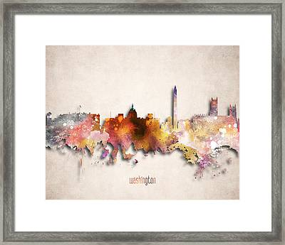 Washington Painted City Skyline Framed Print by World Art Prints And Designs