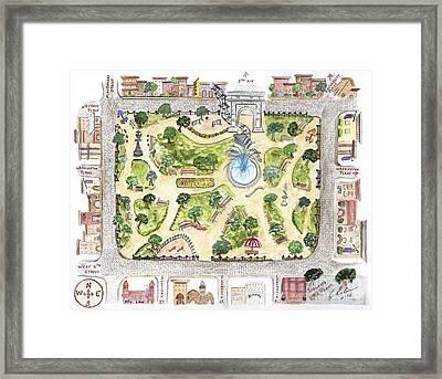 Washington Square Park Map Framed Print