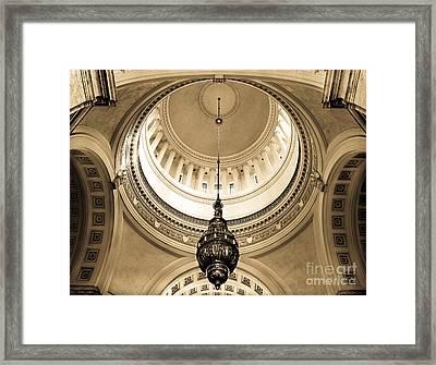 Washington State Capitol Building Rotunda Sepia Framed Print by Merle Junk