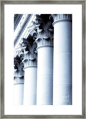 Washington State Capitol Columns In Blue Framed Print