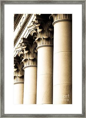 Washington State Capitol Columns In Sepia Framed Print