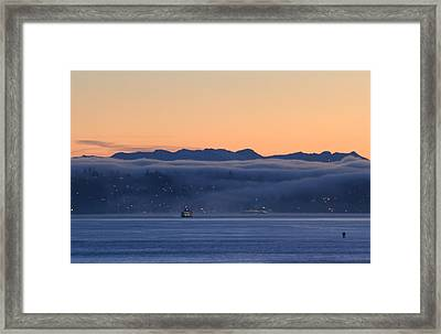 Framed Print featuring the photograph Washington State Ferries At Dawn by E Faithe Lester
