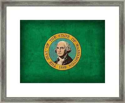 Washington State Flag Art On Worn Canvas Framed Print by Design Turnpike