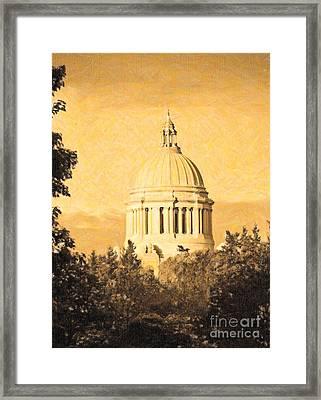 Washington State Legislative Building In Gold Framed Print by Susan Parish