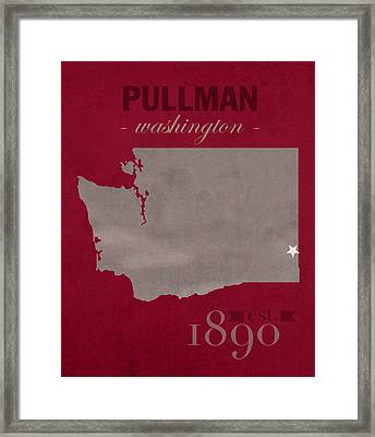 Washington State University Cougars Pullman College Town State Map Poster Series No 123 Framed Print by Design Turnpike