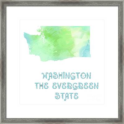 Washington - The Evergreen State - Map - State Phrase - Geology Framed Print by Andee Design