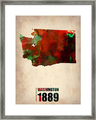 Washington Watercolor Map Framed Print by Naxart Studio