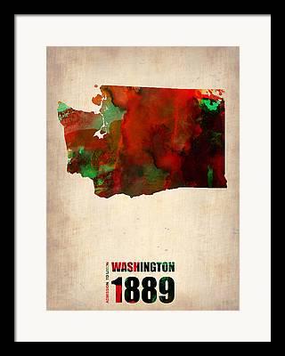 Washington State Digital Art Framed Prints