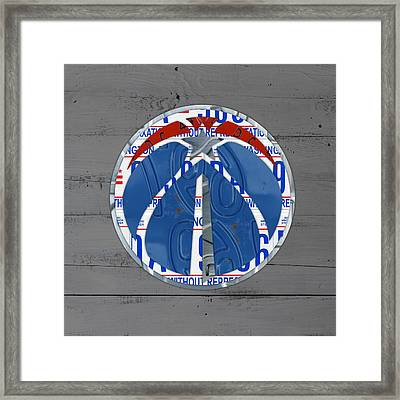 Washington Wizards Basketball Team Logo Vintage Recycled District Of Columbia License Plate Art Framed Print by Design Turnpike