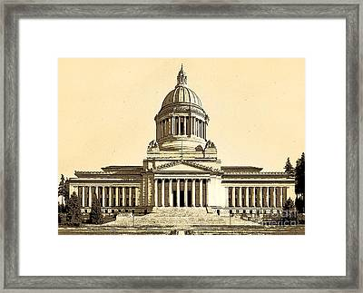 Washingtons State Capitol Building Sketch In Sepia Framed Print