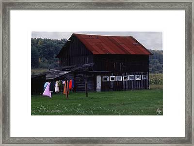 Washline And Barn Framed Print