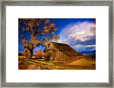 Washoe Valley Barn Stylized  Framed Print by Janis Knight