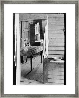 Washstand In The Dog Run And Kitchen Of Floyd Burroughs Cabin. Framed Print by Historic Photos