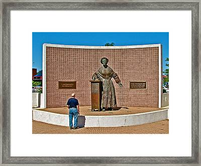 Wasp Learns The Truth From Sojourner Truth In Monument Park In Battle Creek-mi  Framed Print