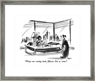 Wasps Are Coming Back Framed Print by Lee Lorenz
