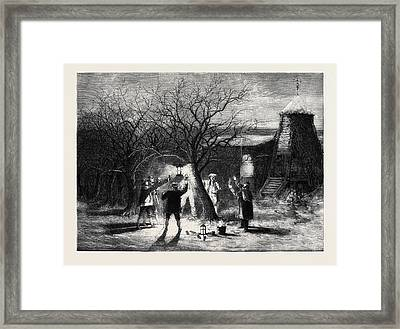 Wassailing Apple-trees With Hot Cider In Devonshire Framed Print