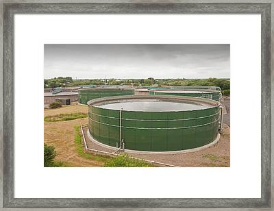 Wastewater Tanks At Sewage Plant Framed Print by Ashley Cooper