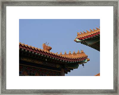 Wat Borom Roof Sculpure Framed Print by Gregory Smith