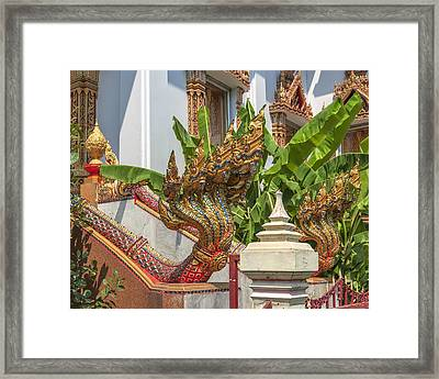 Wat Dokmai Phra Ubosot Stair Naga Dthb1783 Framed Print