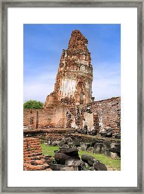 Wat Mahathat Temple In Ayutthaya Framed Print by Artur Bogacki