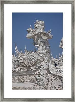 Wat Rong Khun Ubosot Causeway Guardian Dthcr0007 Framed Print
