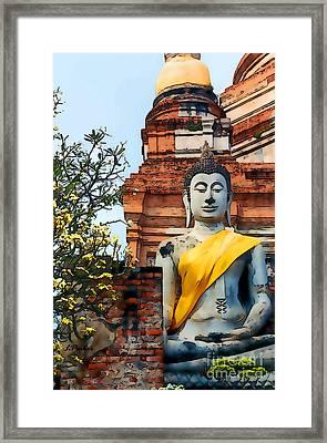 Wat Yai Chai Mongkon Framed Print by Linda  Parker