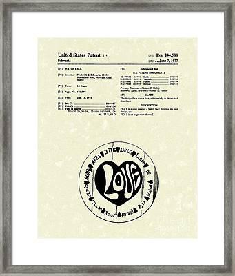 Watch Face 1977 Patent Art Framed Print