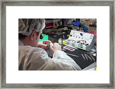 Watch Factory Production Worker Framed Print