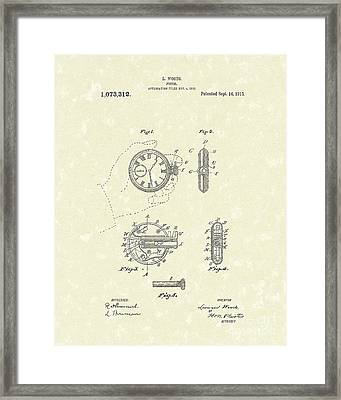 Watch Pistol 1913 Patent Art Framed Print