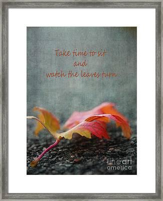 Watch The Leaf Turn Framed Print by Irina Wardas