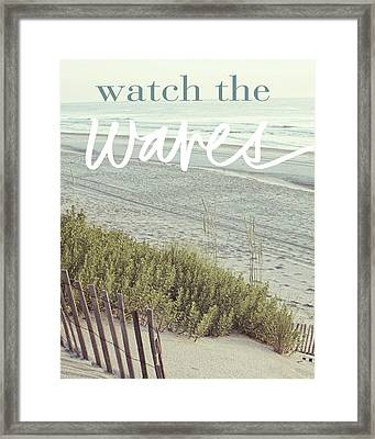Watch The Waves Framed Print by Kathy Mansfield