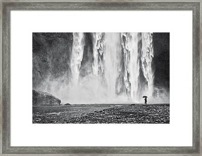 Watcher At The Falls - Iceland Waterfall Photograph Framed Print