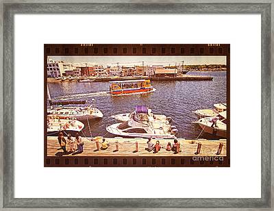 Watching Boats On The Port Framed Print