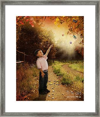 Watching Butterflies Framed Print by Bedros Awak