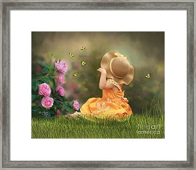 Watching Butterflies Framed Print by Lena Auxier
