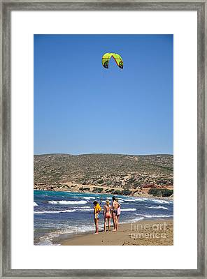Watching Kitesurfer In Prasonisi Framed Print