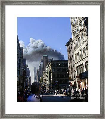 Framed Print featuring the digital art Watching North Tower Burning by Steven Spak