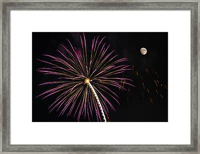 Watching Pink And Gold Explosion - Fireworks And Moon I  Framed Print by Penny Lisowski