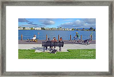 Watching The Bikes Go By At Congressman Leo Ryan's Memorial Park Framed Print by Jim Fitzpatrick
