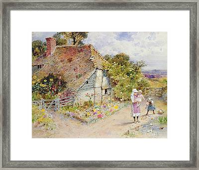 Watching The Ducks Framed Print by William Stephen Coleman