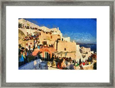 Watching The Famous Sunset Framed Print by George Atsametakis